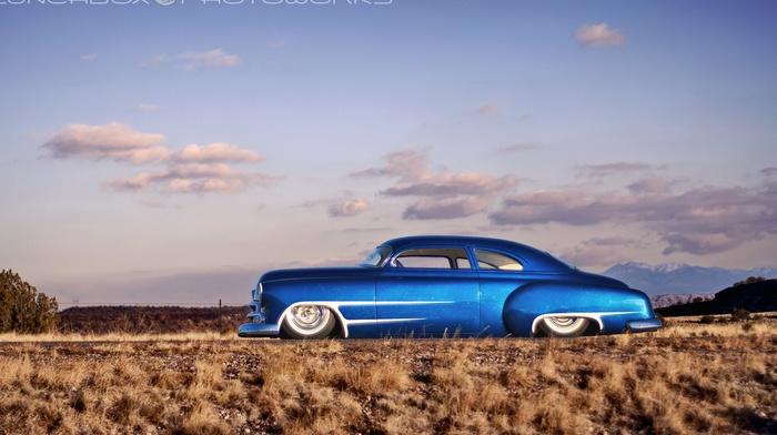 Chevrolet, blue cars, Hot Rod, desert, Chevy, car