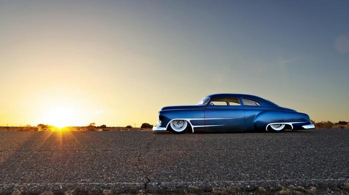 car, Chevy, blue cars, Chevrolet, desert, Hot Rod