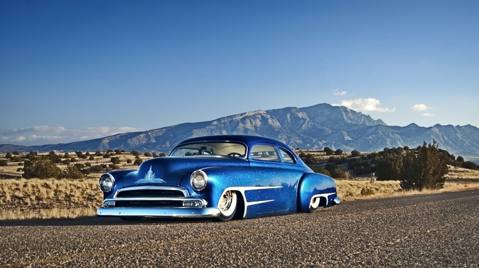 blue cars, desert, Hot Rod, Chevy, Chevrolet, car