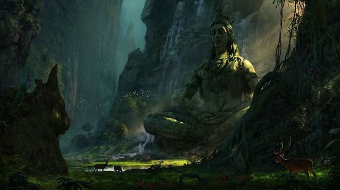Earth, nature, lake, waterfall, landscape, deer, Shiva, mountains