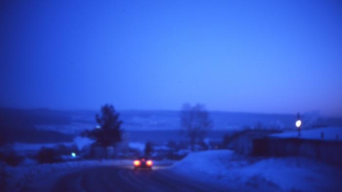 nature, winter, landscape, blurred, road, photography, trees, blue, frost