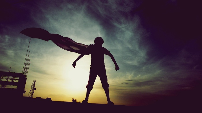 photography, cape, superhero, sunset, Superman, DC Comics, 500px, hero, clouds, silhouette