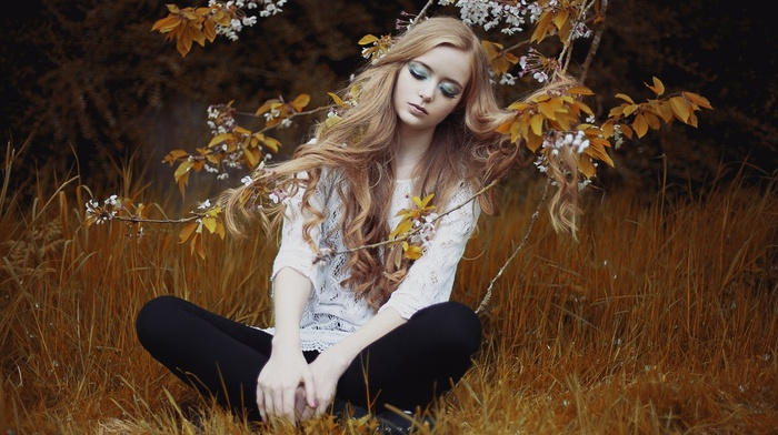 flowers, girl outdoors, eyeshadow, sitting, blonde, twigs, closed eyes, nature, model