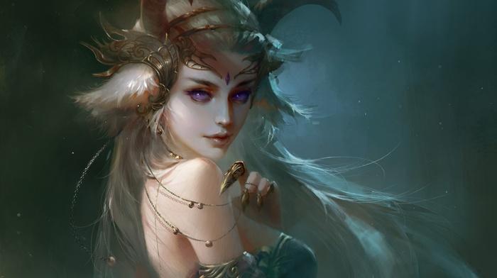 demon, horns, fantasy art, artwork