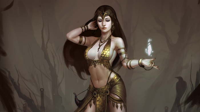 magic, girl, magician, fantasy art