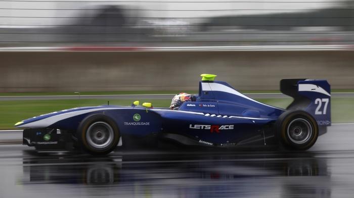race tracks, car, rain, GP3, motion blur