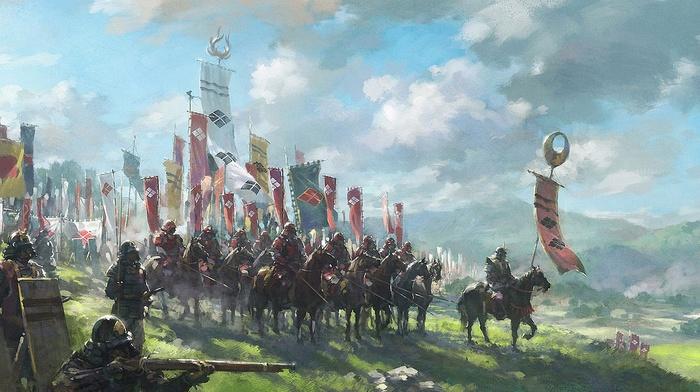 battle, armor, Japan, war horse, flag, war, samurai