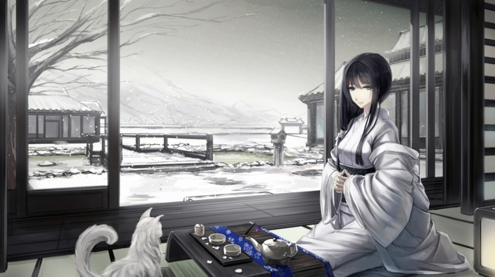 snow, original characters, traditional clothing, cat, Japanese clothes, Asian architecture, kimono, winter, Japanese, black hair, anime girls