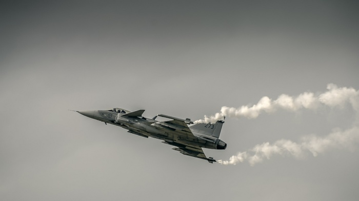JAS, 39 Gripen, airplane, military aircraft, aircraft, photography
