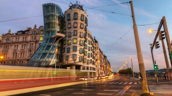 street, dancing, clouds, car, Czech Republic, modern, Prague, capital, street light, Frank Gehry, road, old building, architecture, city, traffic lights, light trails, building