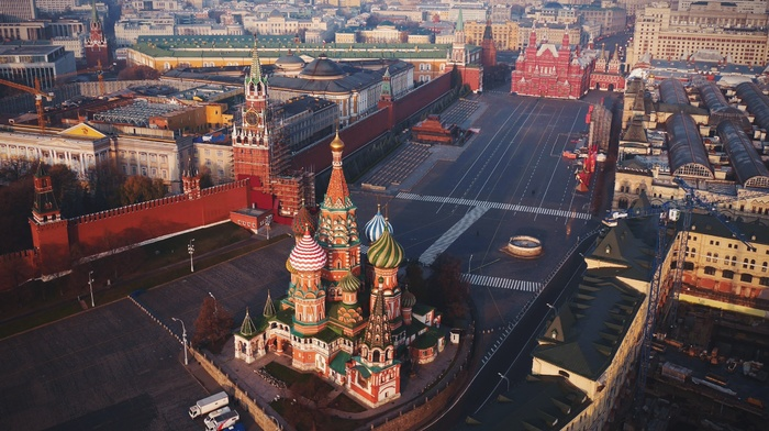 church, architecture, town square, tower, cityscape, city, Russia, birds eye view, building, cranes machine, capital, street, cathedral, Red Square, rooftops, car, Saint Basils Cathedral, aerial view, Moscow
