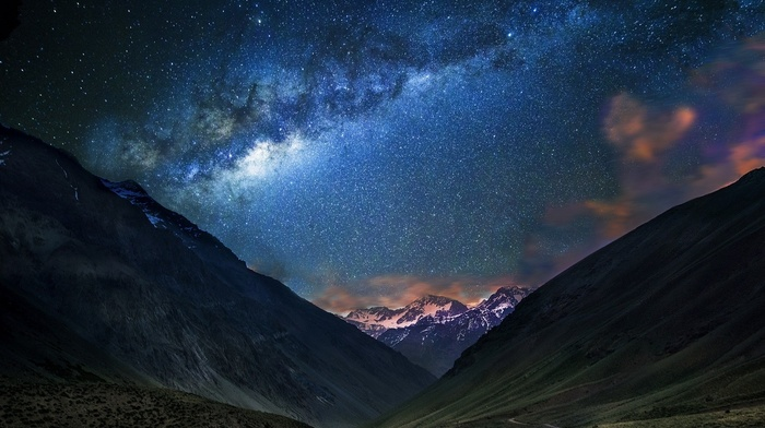snowy peak, mountains, dirt road, starry night, galaxy, nature, long exposure, landscape, Chile, Milky Way