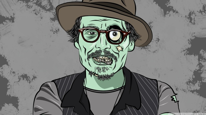 Johnny Depp, hat, glasses, dead, zombies