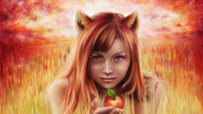 apples, fantasy art, artwork, girl