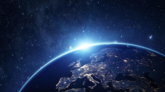 space art, Europe, stars, fraud, render, city lights, CGI, Earth, space, digital art