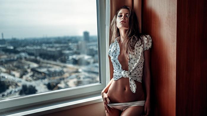 Georgy Chernyadyev, urban, model, Ksenia Kokoreva, open shirt, skinny, looking at viewer, portrait, see, through clothing, panties, girl, window