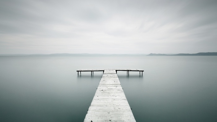 wood, nature, sticks, pier, bright, photography, lake, water, horizon, sea, landscape, wooden surface, clouds, hills, long exposure, blurred
