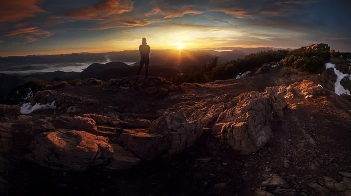 mountains, Slovakia, sunset, men, panorama, mist, landscape, rock