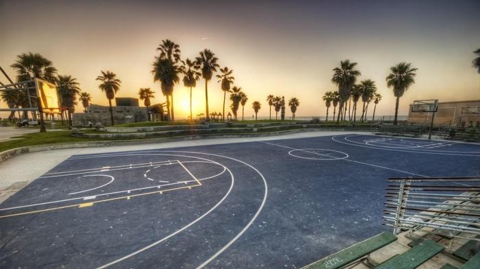 sunset, basketball court, basketball, sports, sport