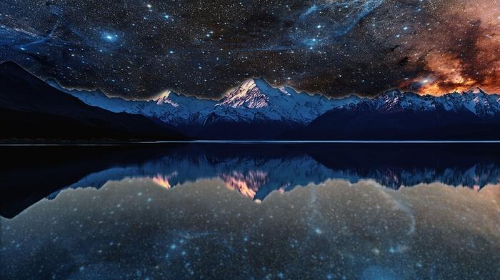 photo manipulation, evening, stars, reflection, space, water, nebula, lake