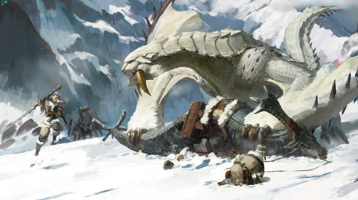 snow, Monster Hunter, heroic fantasy, dragon