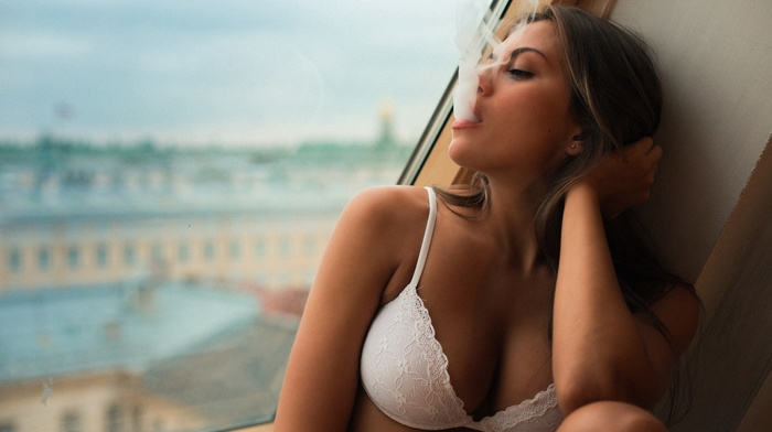 cleavage, white bra, Andres Sivtsov, Caucasian, lingerie, brunette, window, Viktoria Kochetova, Ash blonde, lace, white lingerie, smoking, brown eyes, sideboob, smoke, girl