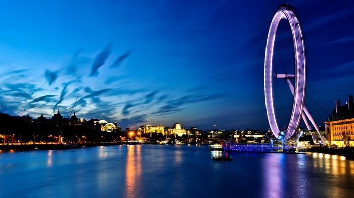 city, sea, London, river, ferris wheel, cityscape, water, photography, urban, night, boat, london eye, River Thames, lights