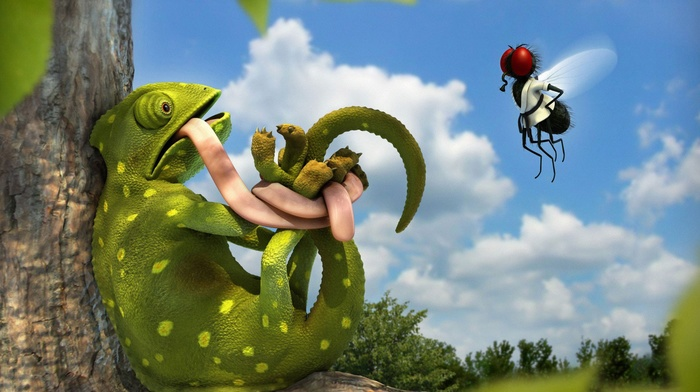 animals, 3D, bound, humor, clouds, chameleons, leaves, flies, trees, digital art, tongues, nature, martial arts, flying