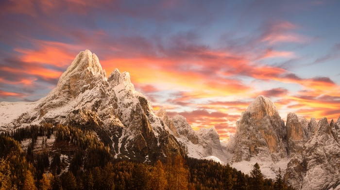 sunset, nature, Italy, mountains, snowy peak, sky, forest, landscape, Dolomites mountains, fall