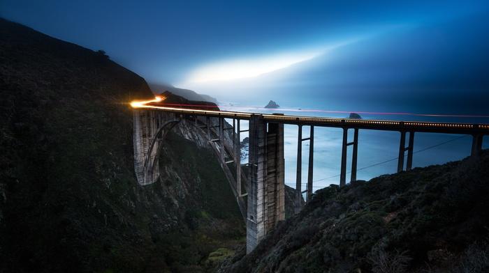 california, sea, blue, light trails, landscape, bridge, nature, sunset, coast, mountains