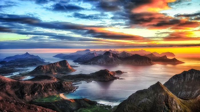 beach, Norway, summer, nature, Lofoten Islands, sea, landscape, sunset, clouds, mountains, sky