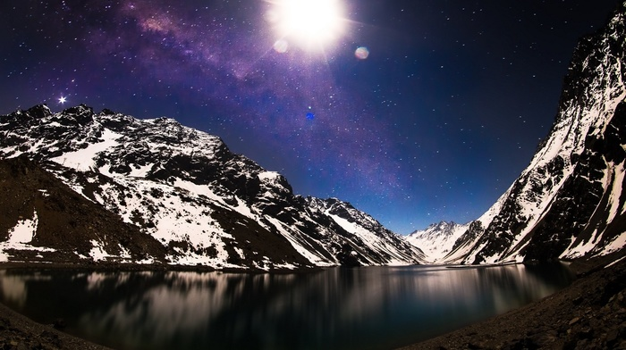 mountains, nature, snow, long exposure, Milky Way, moon, Chile, lake, galaxy, moonlight, winter, starry night, landscape