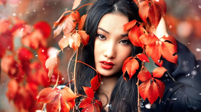depth of field, brunette, model, looking at viewer, leaves, girl outdoors, red leaves, red lipstick, Asian, girl