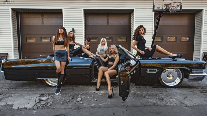 looking at viewer, black stockings, girl with cars, girl, model, dress, sitting, high heels, Black clothes, skirt, car, group of girl, vintage, blonde
