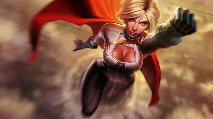 fantasy art, superhero, Power Girl, DC Comics
