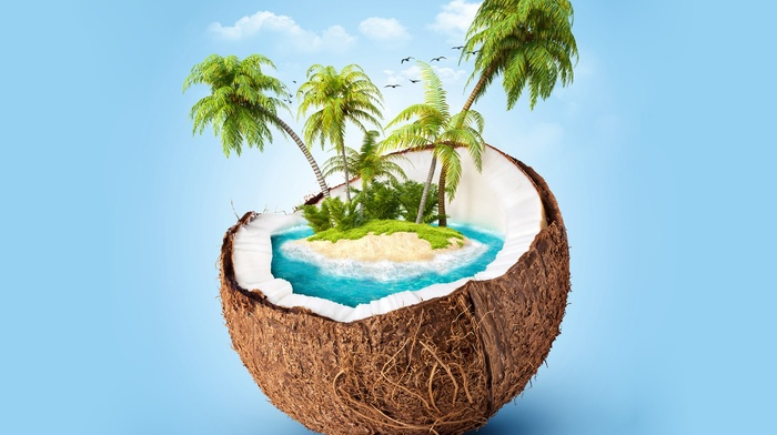 blue background, palm trees, render, island, coconuts