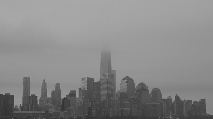 building, water, mist, New York City, city, urban, monochrome, One World Trade Center, skyscraper
