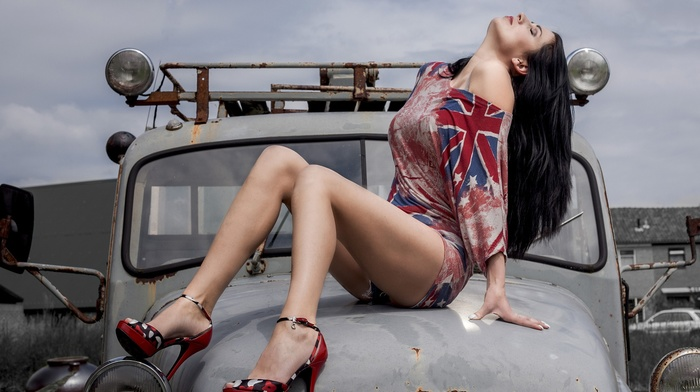 long hair, sitting, brunette, black hair, high heels, legs, old car, girl, closed eyes
