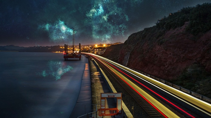 Space Photo Manipulation Reflection Long Exposure Lake Water Nebula Download Wallpaper