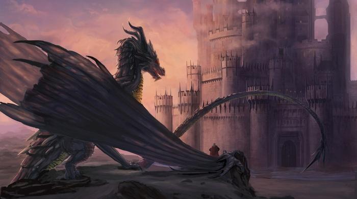 artwork, fantasy art, castle, dragon