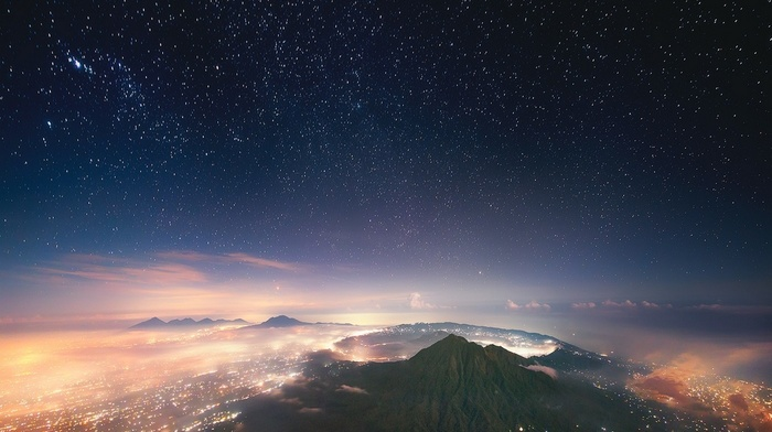 nature, landscape, city, Indonesia, mist, lights, starry night, Bali, crater