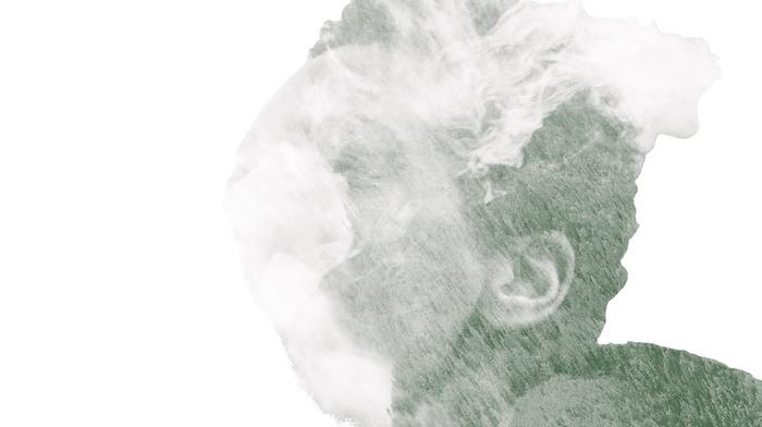 monochrome, smoking