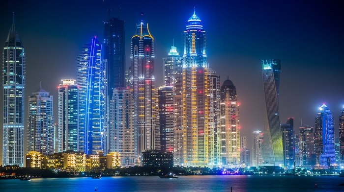 skyline, tower, Dubai, city, lights