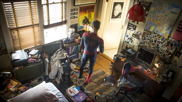 clutter, spider, man, room, Peter Parker