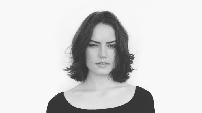 actress, face, brunette, Daisy Ridley, monochrome, girl