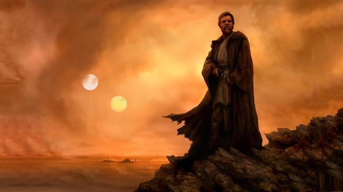 Obi, Wan Kenobi, Tatooine, Star Wars, jedi, artwork