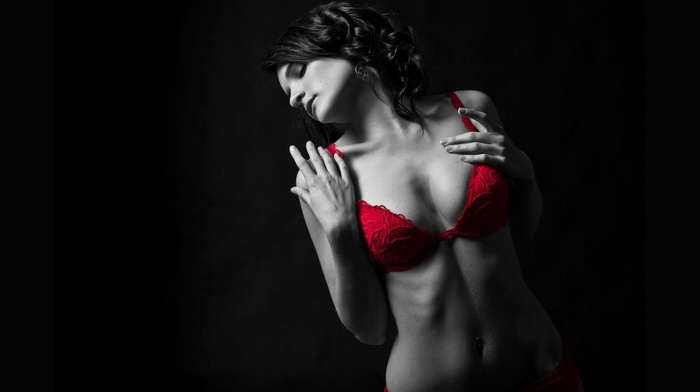 girl, looking away, boobs, selective coloring, black background, red bra