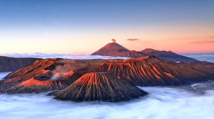 Indonesia, landscape, nature, mountains, volcano, clouds, Mount Bromo, mist, sunlight, crater
