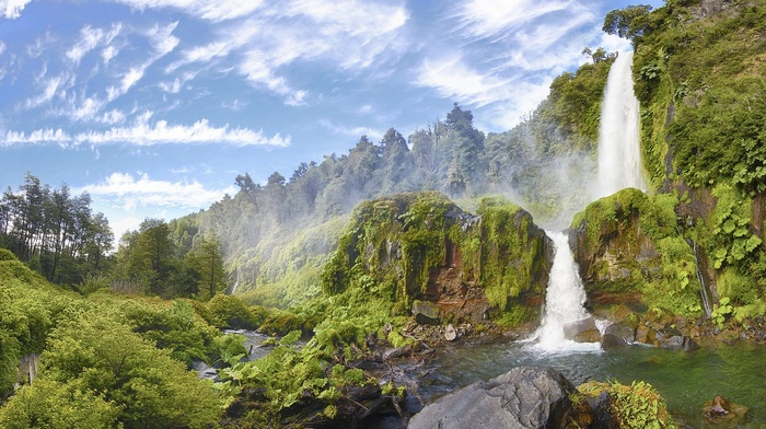 nature, panoramas, hills, national park, forest, shrubs, moss, Chile, waterfall, pond, river, summer, landscape, clouds, trees