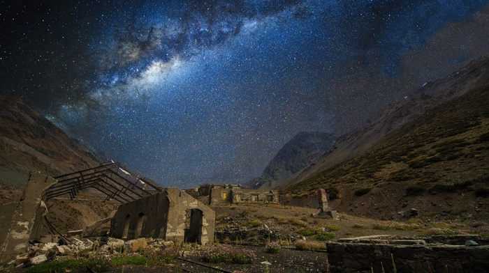 train station, nature, galaxy, landscape, abandoned, mountains, long exposure, starry night, Chile, Milky Way, railway